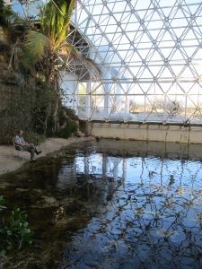 eric magrane writing on biosphere 2 beach