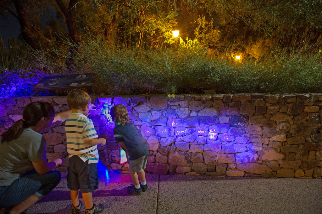 "A scopion poem by Alberto Ríos glows in blacklight at the Arizona-Sonora Desert Museum. ""A scorpion carries on its back the question mark of its existence."""