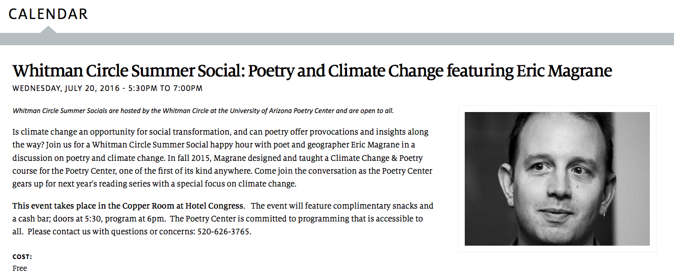 Whitman Circle: Poetry and Climate Change Event