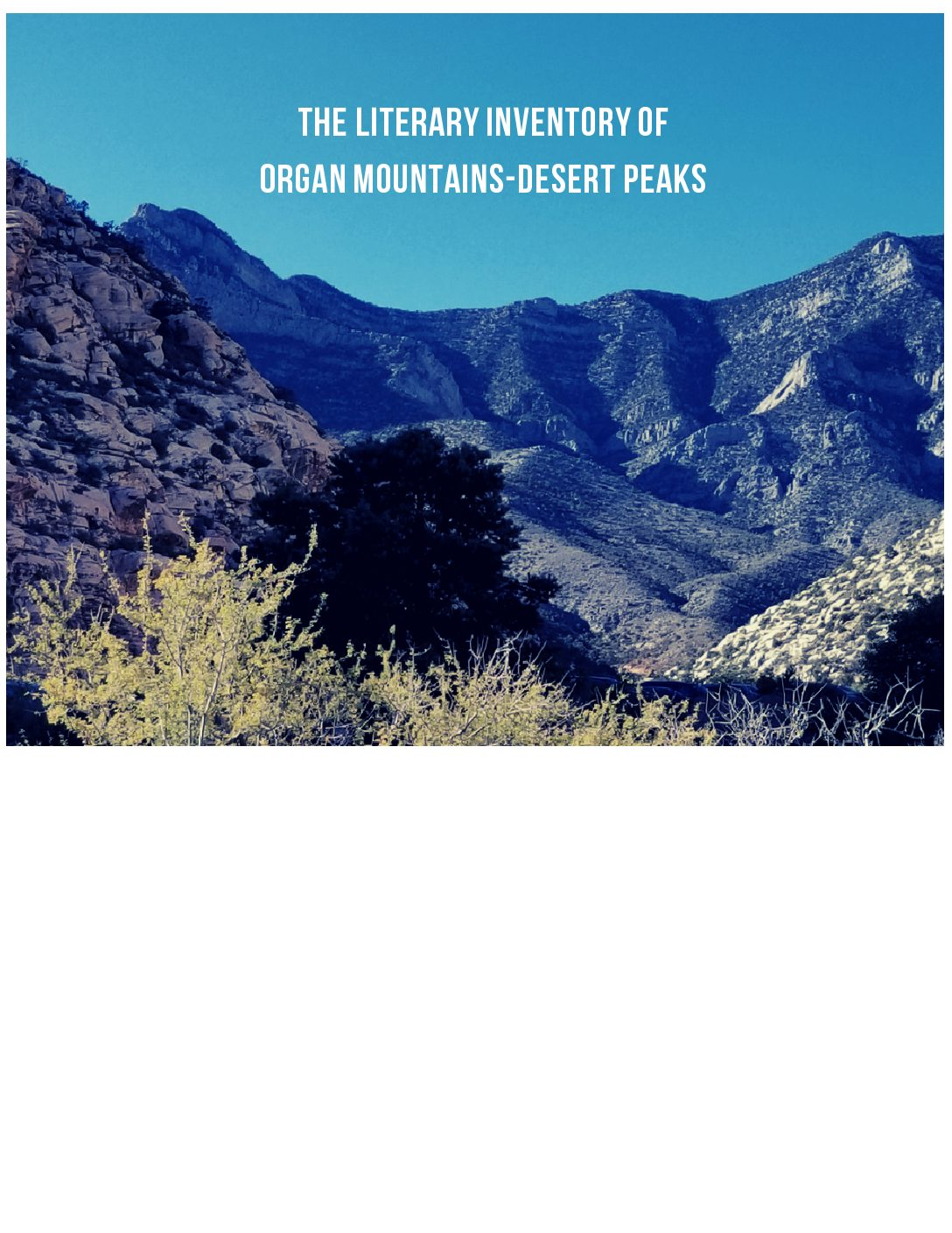 Literary Inventory of Organ Mountains-Desert Peaks